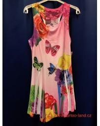 Dětské divčí letní šaty s motýlky růžové