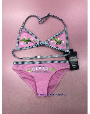 Dívčí dvoudílné plavky růžové Motyl