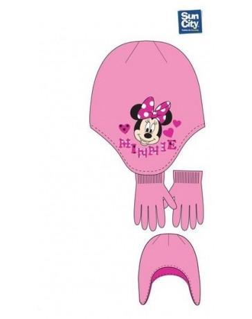 Set čepice rukavice Minnie Mouse dětské dívčí růžová