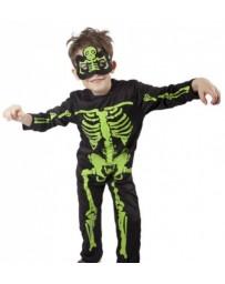Karnevalový kostým - Kostlivec - neon s maskou - dětský - vel. M