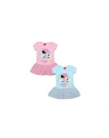 Dětské šaty Minnie s krátkým rukávem modrá/růžová