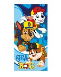 """Plážová bavlněná osuška chlapecká - Tlapková Patrola """"Sea Dog"""" - modrá - 70 x 140 cm"""