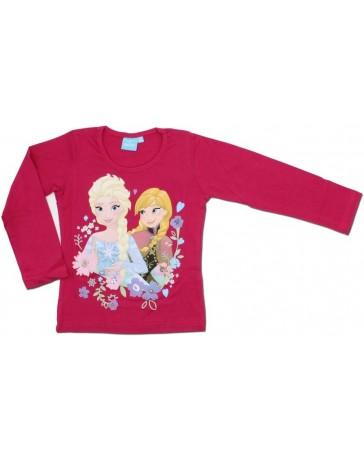 Dívčí triko s dlouhým rukávem Ledové Království - fuchsiová