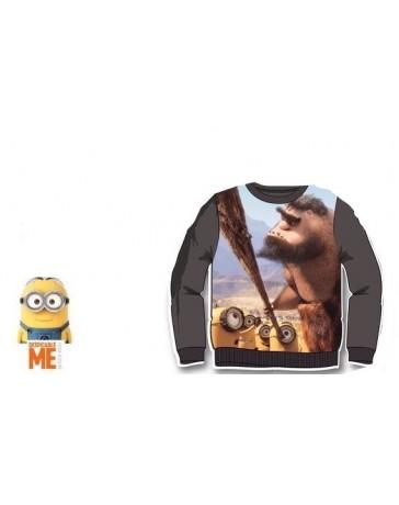 Mimoni mikina tmavě šedá s pračlověkem dětský svetr