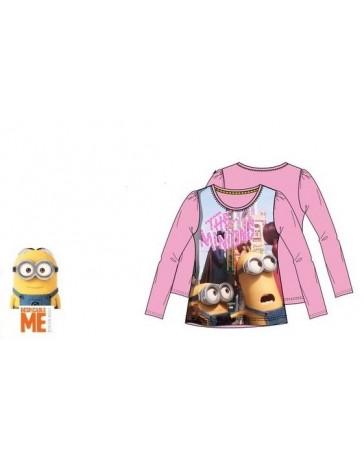 Dětské dívčí tričko Mimoni Minions dlouhý rukáv růžové