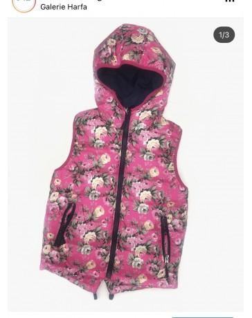 Dětská vesta, prošívaná vesta, vestička růžová Seagull