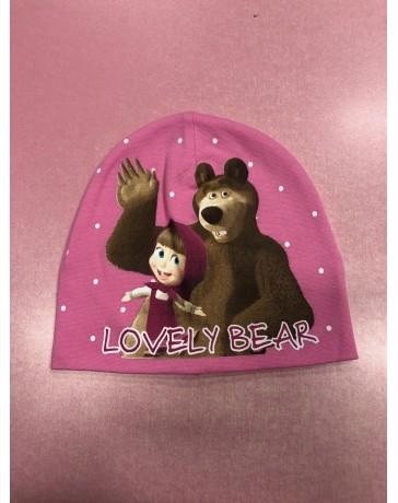 Dívčí jarní / podzimní čepice Máša a Medvěd světlé růžová