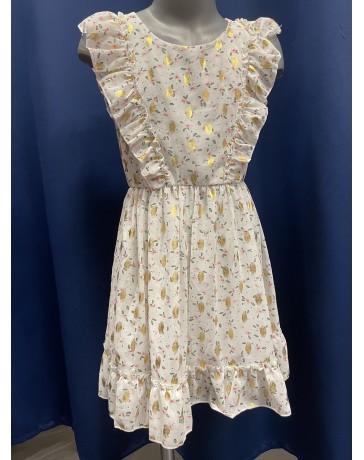 Dívčí šaty bilé zlaté kitky 1036 Yidengrin