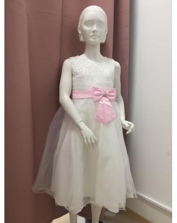 Slavnostní Svatební šaty bílé růžové mašlé