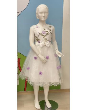 Slavnostní Svatební šaty bílé fialové kytky