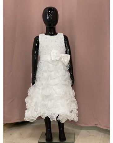 Slavnostní Svatební šaty bílé mašle bílá