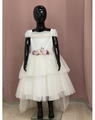 Šaty slavnostni svatební bílé s  fialove kitkama