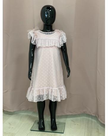 Slavnostní šaty staro růžové s peří