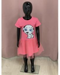 Dívčí šaty růžové měnící flitry pejsek