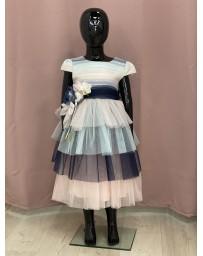 Dívčí šaty modré růžové Pink Girls
