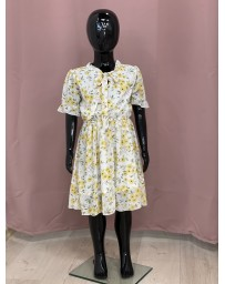 Dívčí šaty bílé žlutí kitky