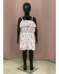 Dívčí šaty overal bílé růžové kitky